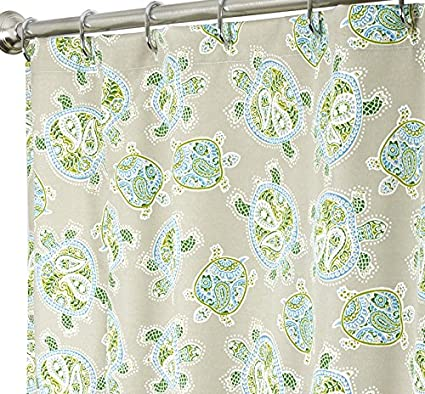 Extra Long Shower Curtains Tommy Bahama Fabric Blue Turtle 84 Inches