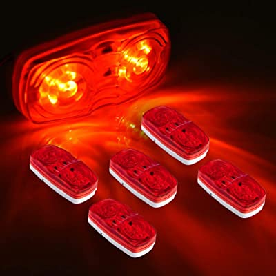 Partszone 5Pcs Red Side Marker Lights Double Bullseye 10 LED Trailer Clearance Light Bulls Tiger Eye for Truck RV Boat Camper Trailers: Automotive