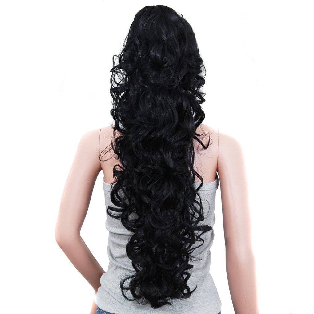 S-ssoy 31''(78cm) Women's Curly Pony Tail Hair Piece Synthetic Claw Clip Ponytail Wavy Long Curled in Hair Extension Extensions Long/Voluminous Wig Hairpieces for Women Girls Lady, 1B# by S-ssoy