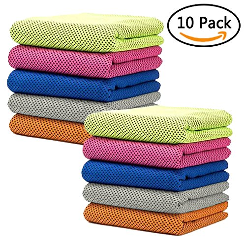 Frontoper 10 Packs Cooling Towel, Super Sweat-Absorbent Sports Towel for Sports, Workout, Fitness, Gym,Yoga, Pilates, Travel,Camping,Running,Training,Driving, Cycling & Other Sports