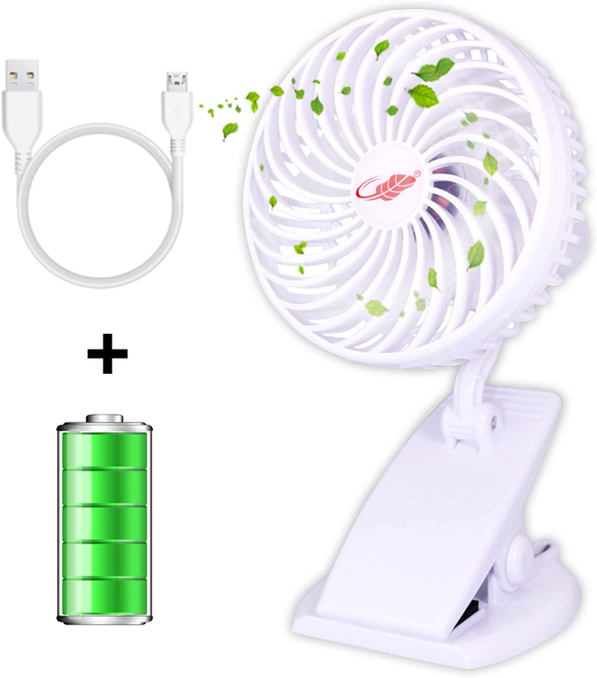 RASSE Clip on Fan Desk Fan USB Portable Fan, Mini Fan Portable Cooling Desk Fan Removalbe Handheld Fan Included Rechargeable 2200mAh 18650 Battery with Strong Wind Adjustable Speeds
