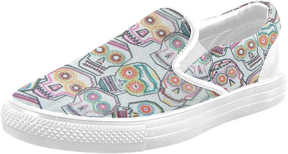 Colorful Tossed Skulls Canvas Slip-on Loafer for Men