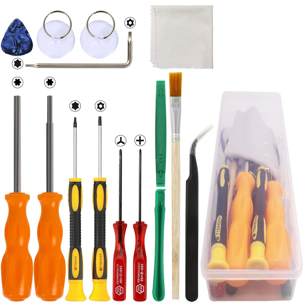 DanziX Triwing Screwdriver for Nintendo, Professional Security Game Bit Set of 11 Repair Tools for New 3DS/Wii/NES/SNES/DS Lite/GBA + 2 Suckers + 1 Tweezers + 1 Clean Cloth + 1 Storage Box- Pack of 16