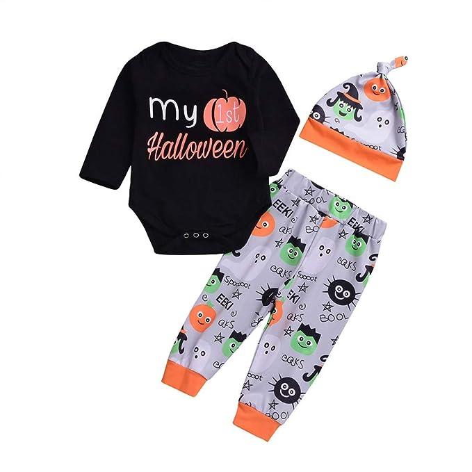 Rawdah_Conjunto Bebe NiñO Invierno Blusas Bebe NiñO Sudaderas Bebe NiñO 3PCS Halloween Kids Baby Letter Print