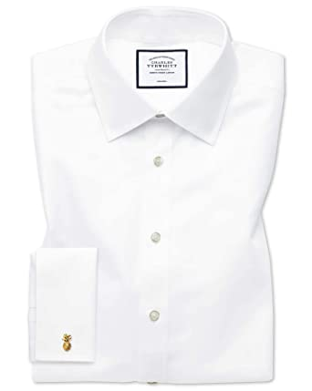 9bc15024697 Classic Fit Non-Iron Twill White Cotton Formal Shirt Double Cuff by Charles  Tyrwhitt  Amazon.co.uk  Clothing