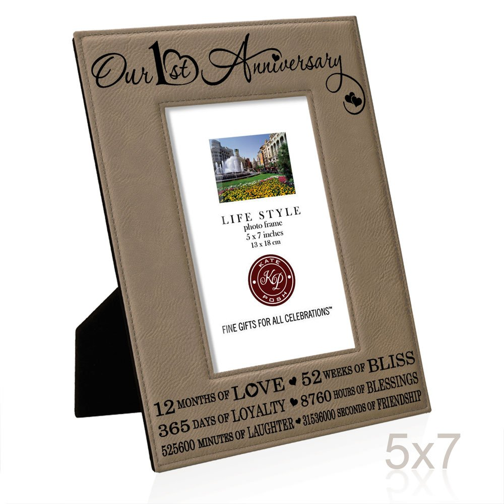 Kate Posh Our First 1st Anniversary End Leather Picture Frame Gifts For Couple Him Gift Her Paper