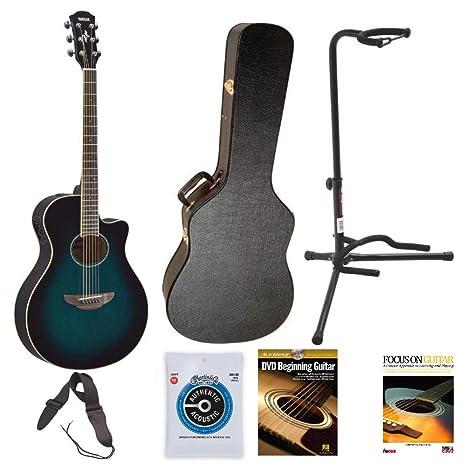 Yamaha apx600obb guitarra (Oriental azul Burst) con carcasa rígida, soporte, correa,