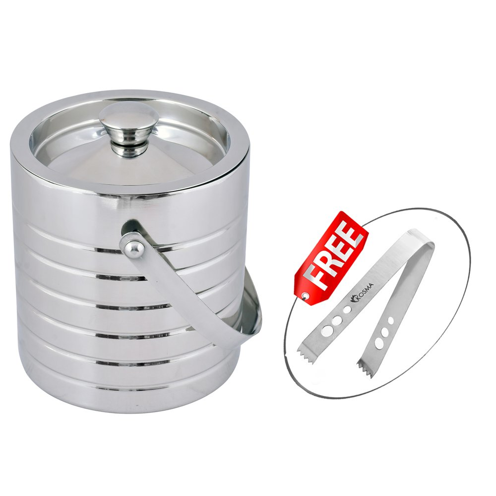 Kosma Stainless Steel Premium Ice Bucket Double wall 1.5 Litre Ice Tong 5.5'' (6 Ring)