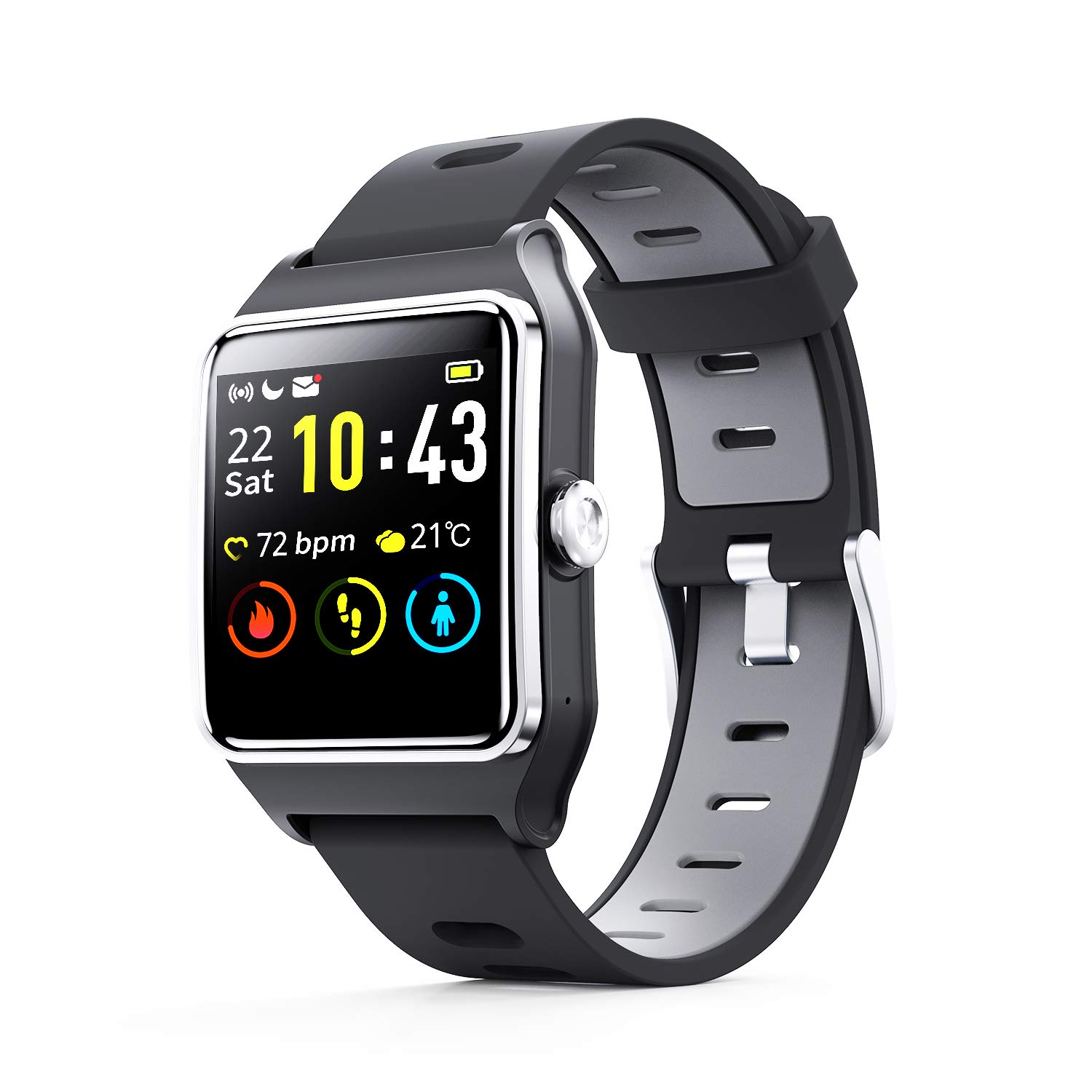 ENACFIRE Smart Watch W2 IP68 Waterproof Fitness Tracker Smartwatch with GPS, Heart Rate Monitor, Sleep Tracker, Step Counter, Activity Watches for Men, Women, Kids, Compatible with Android iOS Phone by ENACFIRE