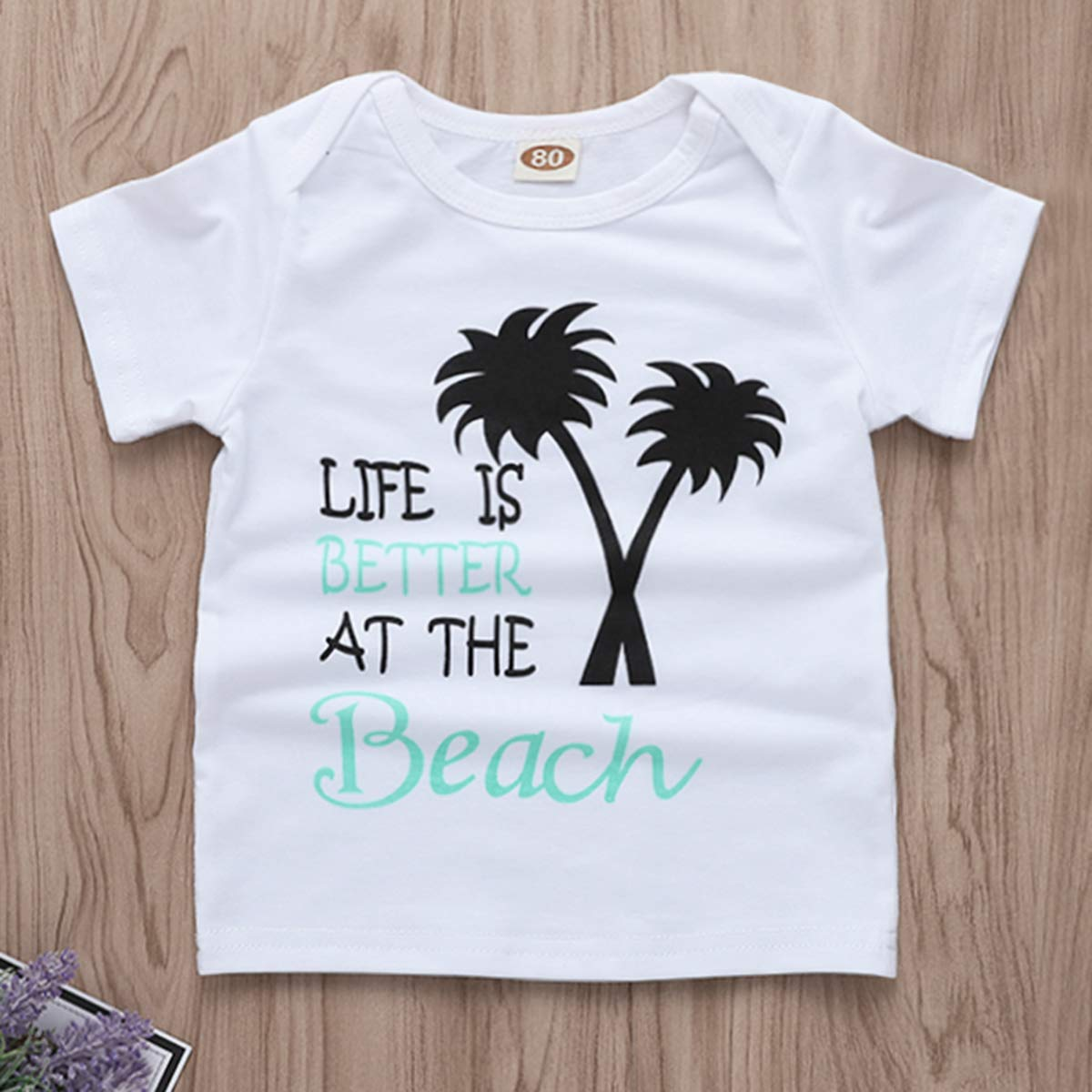 Infant Toddler Baby Boys Girls Letter Print Tops Shirt Shorts Outfit Clothes Set