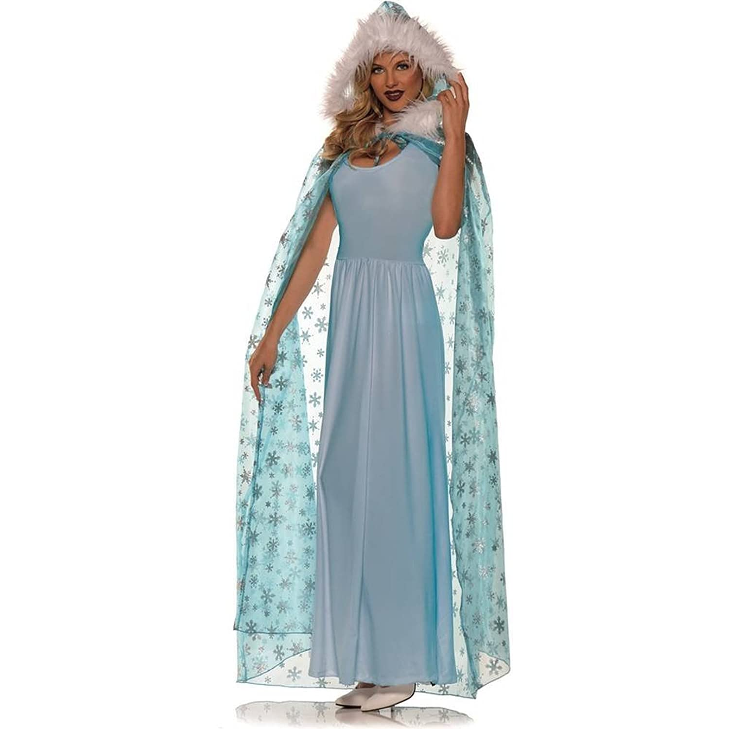 Full Length Snow Queen Snowflake Cape Female One Size