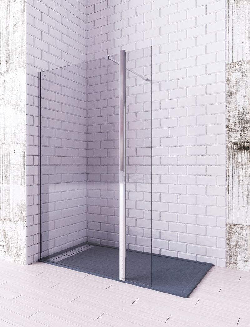 Modelo TELLA - Mampara de ducha de 1 hoja fija + 1 abatible - Cristal 6 mm con ANTICAL INCLUIDO (90 + 40 cm): Amazon.es: Bricolaje y herramientas