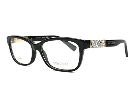 23f2db4742a Jimmy Choo Plastic Rectangular Eyeglasses 53 029A Shiny Black at Amazon  Women s Clothing store