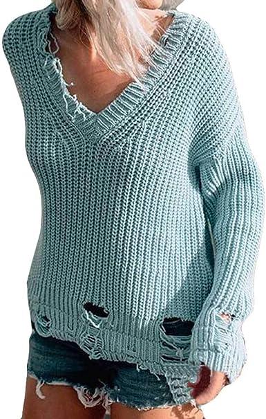 ManxiVoo Autumn Women Long Sleeve Ripped Hole Knitted
