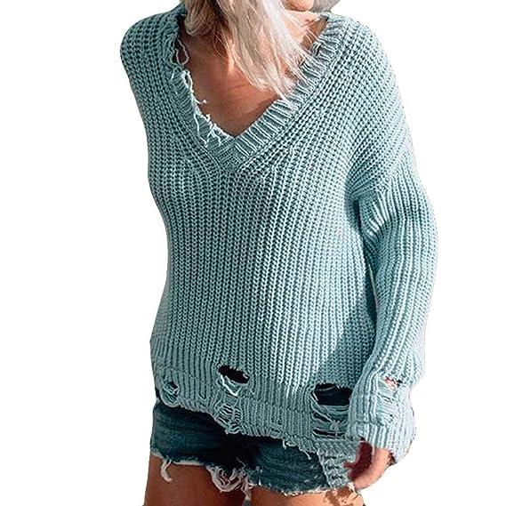 Luckycat Las Mujeres con Cuello en v Manga Larga Moda de Punto Jersey Suelto suéter Jumper