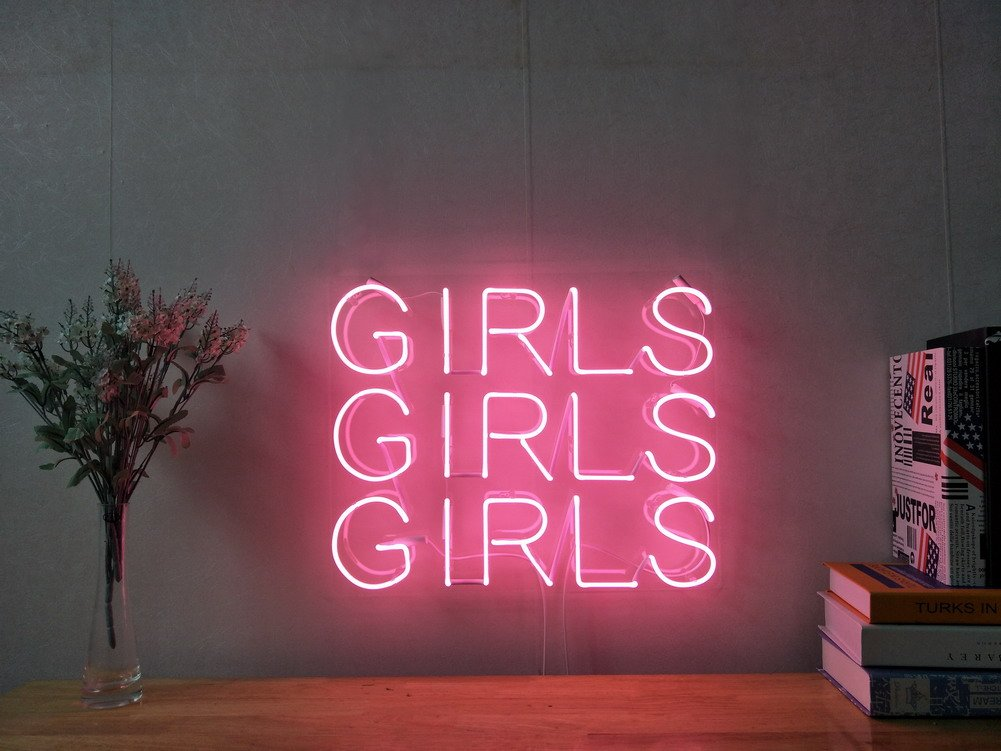 Girls Girls Girls Real Glass Neon Sign For Bedroom Garage Bar Man Cave Room Home Decor Handmade Artwork Visual Art Dimmable Wall Lighting Includes Dimmer