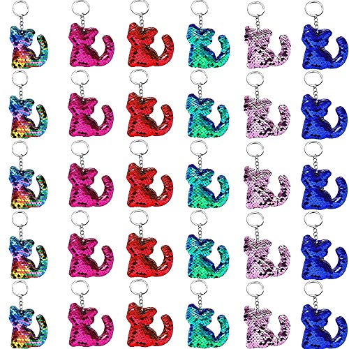 Sequin Keychain Cat Shape, Outee 30 Pcs Flip Sequin Keychain Hanging Key Chain 6 Different Colors Decoration Party Favors Supplies Gift for Kids Adults