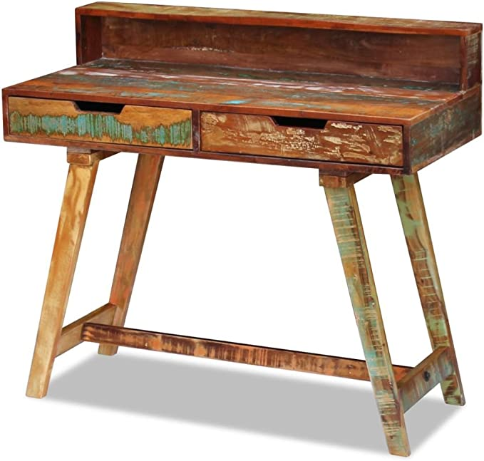 vidaXL Escritorio Mesa Vintage Dos Cajones Madera Maciza Reciclada ...