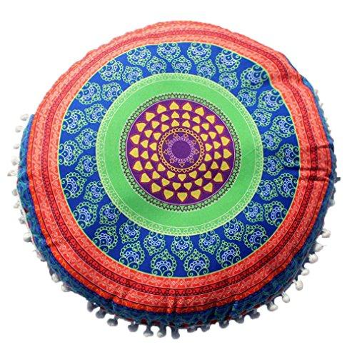 Lavany Pillowcases Round Bohemian Indian Mandala Pillows Cover Cushion Sofa Home Decorations 17x17 Inch (D)