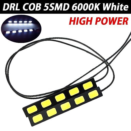 TABEN 2 piezas 3 LED COB super brillante blanco DRL coche luz diurna DRL Kit antiniebla lámpara: Amazon.es: Coche y moto