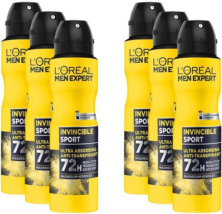 LOréal Men Expert Invincible Sport - Desodorante en espray antitranspirante con 72 horas de protección en seco, Pack de 6 x 150 ml (900ml): Amazon.es: Belleza