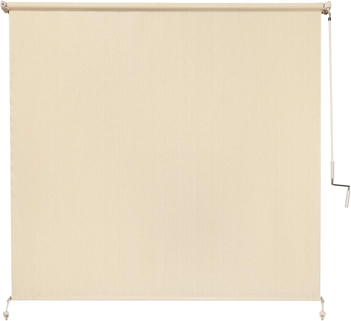Coolaroo Exterior Roller Shade, Cordless Roller Shade with 80 UV Protection, No Valance, 6 W X 6 L , Sesame