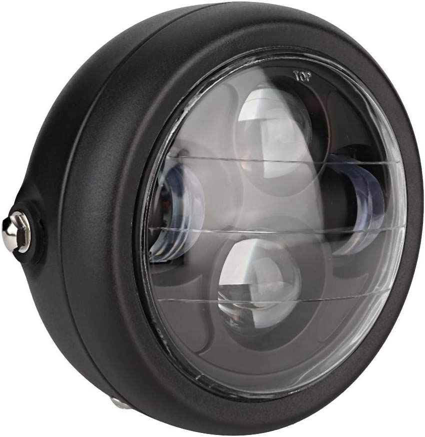 Phare de moto Noir accessoire de Modification de lampe de phare LED de moto ronde vintage universelle