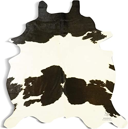 RODEO Brazilian Cowhide Rug Small Area Rug Size 4×5-5×5 ft Cow Skin Rug Hide Black White