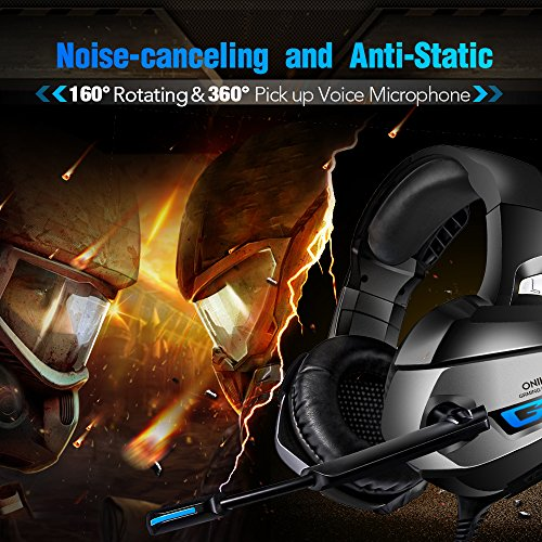 ONIKUMA Gaming Headset – Headset Gaming Headphone for PS4, Xbox One (Adapter Need), Nintendo Switch (Audio) PC Gaming Headset with Crystal Clear Sound, LED Lights & Noise-canceling Microphone (K5-N)