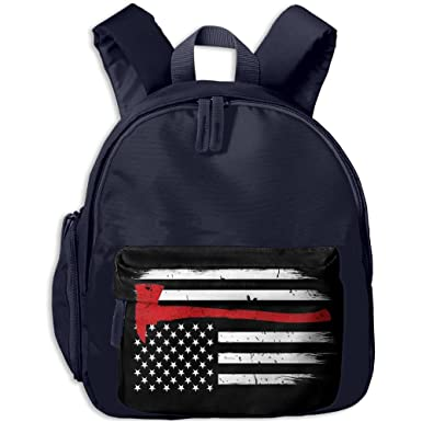 Firefighter Flag Thin Red Line Axe Trendy School Kids Backpack Little Kid  And Toddler Safety Harness bea8ff3807
