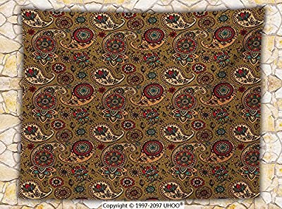Paisley Fleece Throw Blanket Vintage Leaf Embellish Authentic Flower Motif in Earth Tones Print Throw Light Coffe and Sand Brown