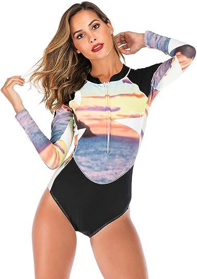 Traje de Buceo para Mujer, Camisas de Neopreno Baño Mujeres Protección Solar UV UPF 50 + con Cremallera Impresa Traje de Bañador Floral de Manga Larga Camiseta para Buceo Natación Surf: Amazon.es: