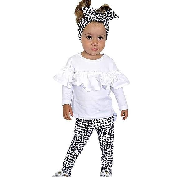 Subfamily Vestido de Manga Larga niña, Conjunto de Pantalones de Manga Larga con Volantes en Color Liso para niños de 6 Meses a 3 años: Amazon.es: Ropa y ...