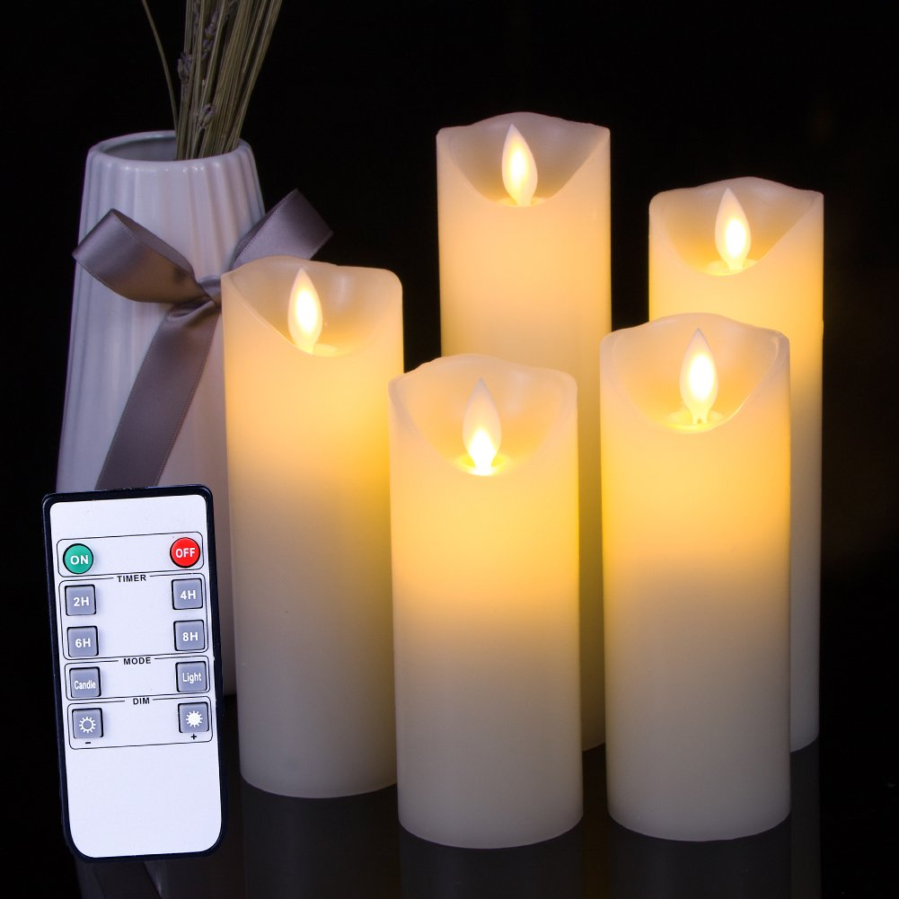 Flameless LED Candles Flickering pillar Candles Battery Operated Candles Unscented with Timer and Remote Set 5'' 6'' 7'' 8'' 9'' Set of 5 Ivory Real Wax Pillar LED Candles with 10-key silicone Remote