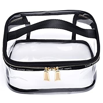 e4fd27b23450 Amazon.com   YOUNGBEST Transparent Toiletry Bag Portable Clear Makeup  Cosmetics Bag Zipper Waterproof With Handle Travel Organizer Case (Square)    Beauty