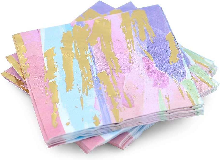 30 Pk, Gold Foil, Pink, Blue, Purple Watercolor Abstract, Cocktail 3-Ply Paper Party Napkins for Quarantinis or Girls Night In