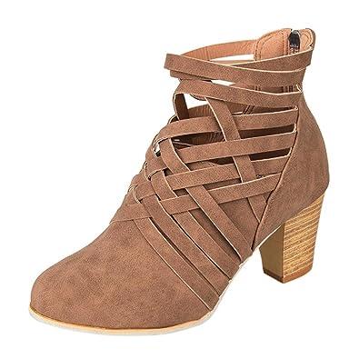 Stiefel Damen Schuhe Sonnena Ankle Boots Frauen Plateau Stiefeletten Wedge Schnalle Trichterabsatz Schuhe High-Heels...