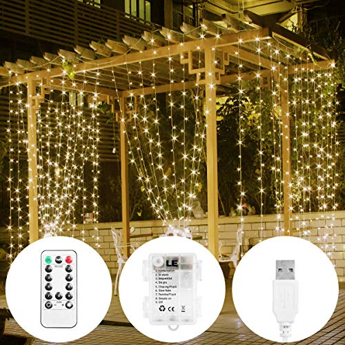 (LE LED Curtain Light, USB or Battery Operated, Portable/Timer/Remote/Dimmable/8 Mode, Warm White, 9.8x9.8ft 300 LED, Indoor Outdoor Wall Window String Light for Bedroom, Party, Wedding, Patio and More)