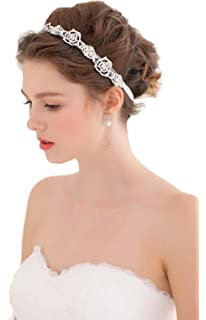 Wedding Flower and Leaves Rhinestone Headband Tiara Bridal Hair ...