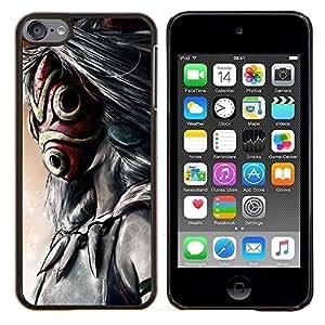 Totem máscara de dibujos animados- Metal de aluminio y de plástico duro Caja del teléfono - Negro - iPod Touch 6
