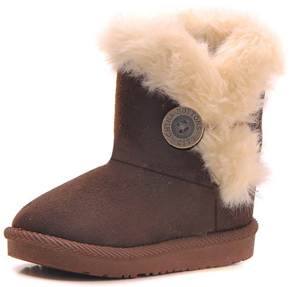 Poppin Kicks Girls Bailey Button Faux Shearling Fur Insulated Snow Boots Kids Winter Flat Shoes (Toddler/Little Kid)