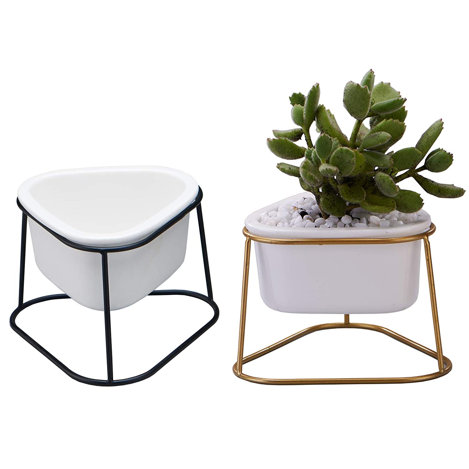 LICHAMP 4-inch Small Triangle Planter Pots, 2 Pack 4.1-inch White Succulent Pots Ceramic with Metal Stand for Cactus and Succulent Decoration