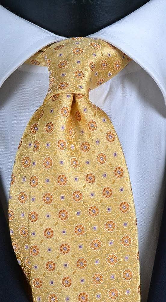 Corbata de hombre amarilla con efecto cambiante con micro fantasía ...