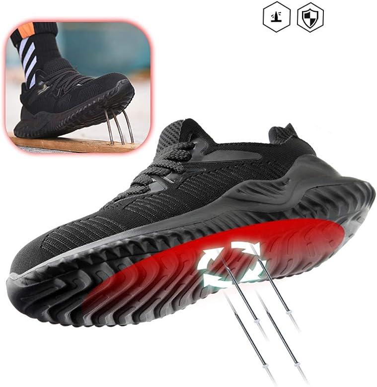 Zapato Trabajo Hombre Calzado de Seguridad S3 Antideslizante Transpirable Ligeras Zapatos de Industria Unisex