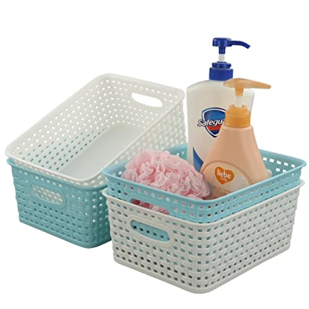 77a1ef4a76 Fosly Small Plastic Storage Weave Basket