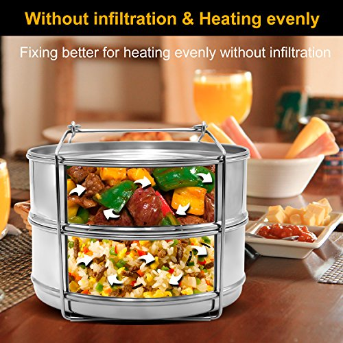 Stackable Steamer Insert Pans, Stainless Steel Insert Steamer for 6/8 Quart Instant Pot Pressure Cooker Baking Lasagna Pans Pot in Pot Accessories Cook 2 foods at Once by youermei (Image #3)