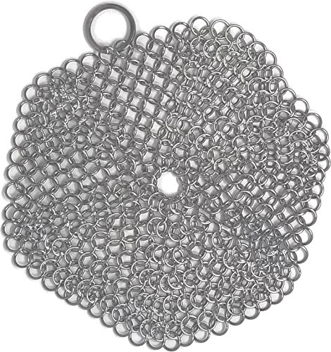nmail Scrubber is a Perfect Cast Iron Skillet Cleaner, This Chainmail Cast Iron Scrubber will be a Life Saver! 6-Inch Round Cast Iron Scrubber (Pots not included) ()