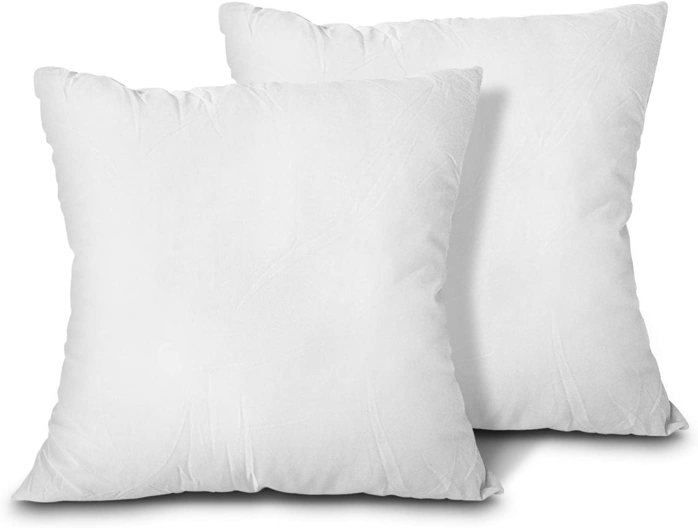 EDOW Throw Pillow Inserts, Set of 2 Lightweight Down Alternative Polyester Pillow, Couch Cushion, Sham Stuffer, Machine Washable. (White, 20x20)