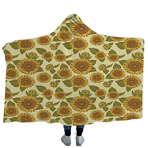 Blanket Deluxe Winter - MASCULINTY Hooded Blanket Winter Deluxe Blanket Relieves Anxiety Stress Agitation Traditional Scandinavian Needlework Inspired Pattern Jacquard Flakes Knitting Theme Decorative (Kids 50