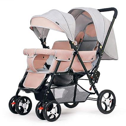 Guo@ Cochecito doble Carro de bebé doble Sentado hacia atrás y ...